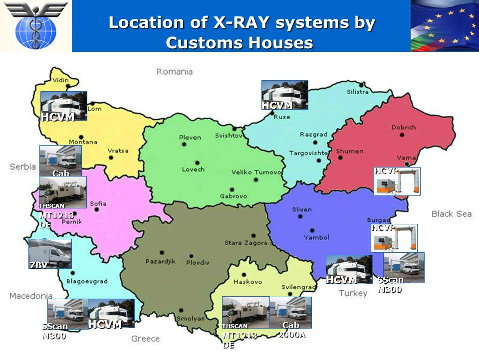 Location of X-RAY systems by Customs Houses Location of X-RAY systems by Customs Houses HCVM HCVM Cab 2000A THSCAN MT1213 DE HCVM HCVPHCVP SScan M300 ZBV HCVM THSCAN MT1213 DE Cab 2000A