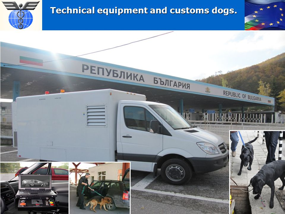 Technical equipment and customs dogs.