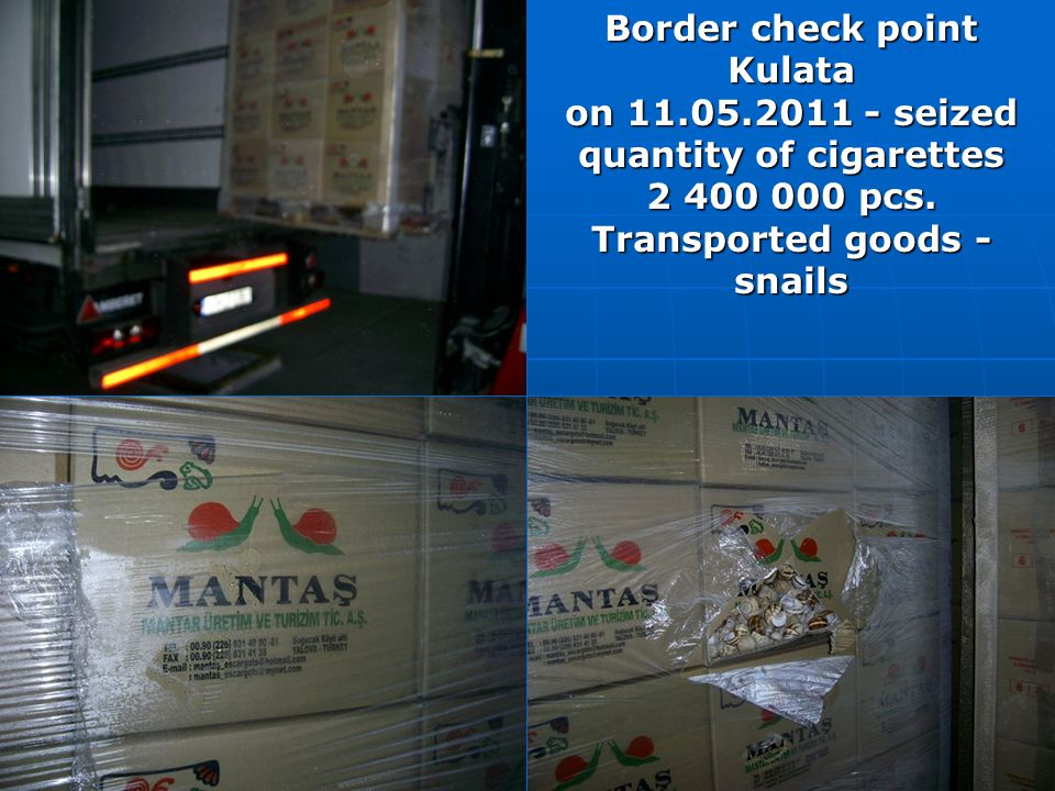 Border check point Kulata on 11.05.2011 - seized quantity of cigarettes 2 400 000 pcs. Transported goods - snails