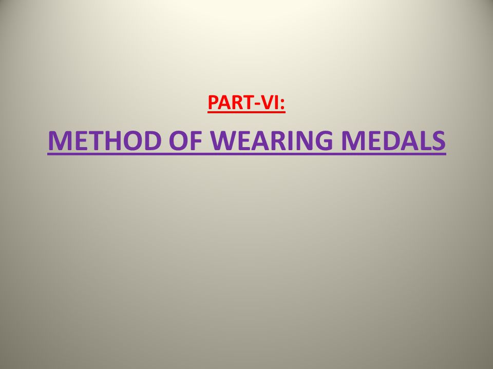 PART-VI: METHOD OF WEARING MEDALS