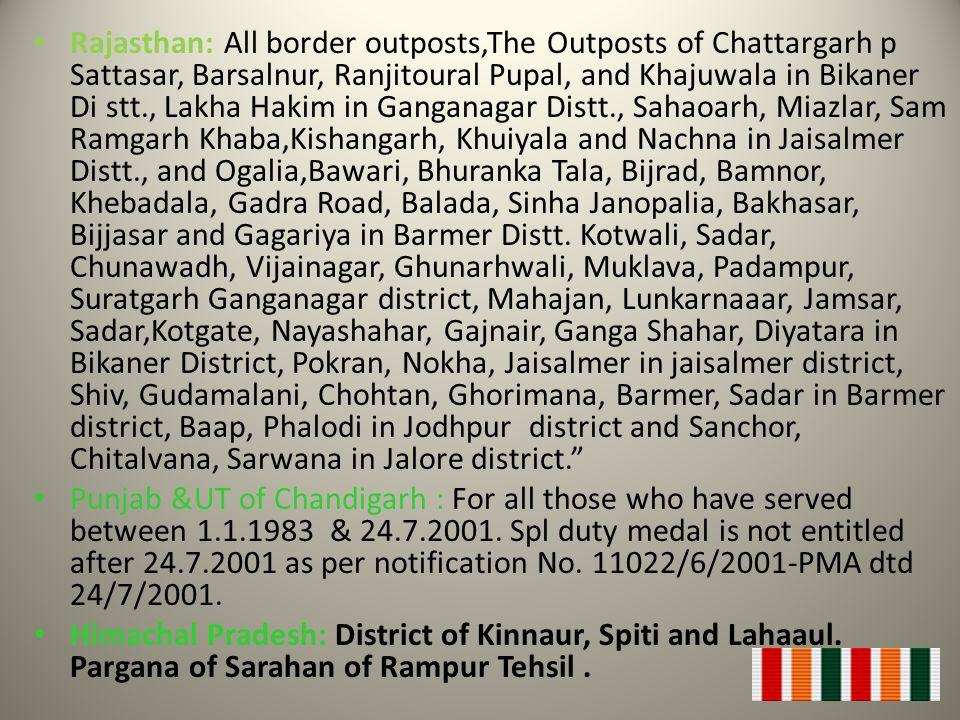 Rajasthan: All border outposts,The Outposts of Chattargarh p Sattasar, Barsalnur, Ranjitoural Pupal, and Khajuwala in Bikaner Di stt., Lakha Hakim in