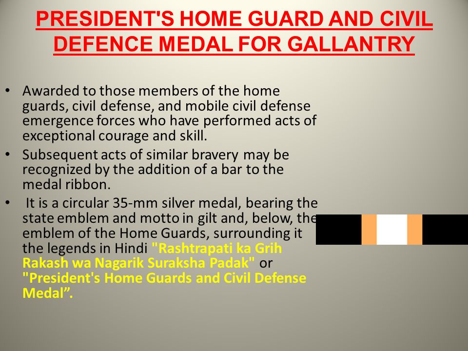 PRESIDENT'S HOME GUARD AND CIVIL DEFENCE MEDAL FOR GALLANTRY Awarded to those members of the home guards, civil defense, and mobile civil defense emer