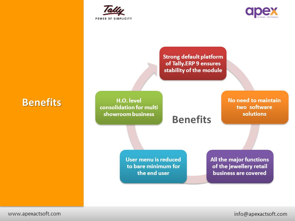 + www.apexactsoft.com info@apexactsoft.com + + Benefits Strong default platform of Tally.ERP 9 ensures stability of the module No need to maintain two