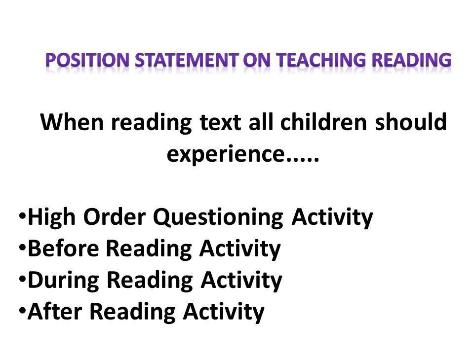 When reading text all children should experience..... High Order Questioning Activity Before Reading Activity During Reading Activity After Reading Ac