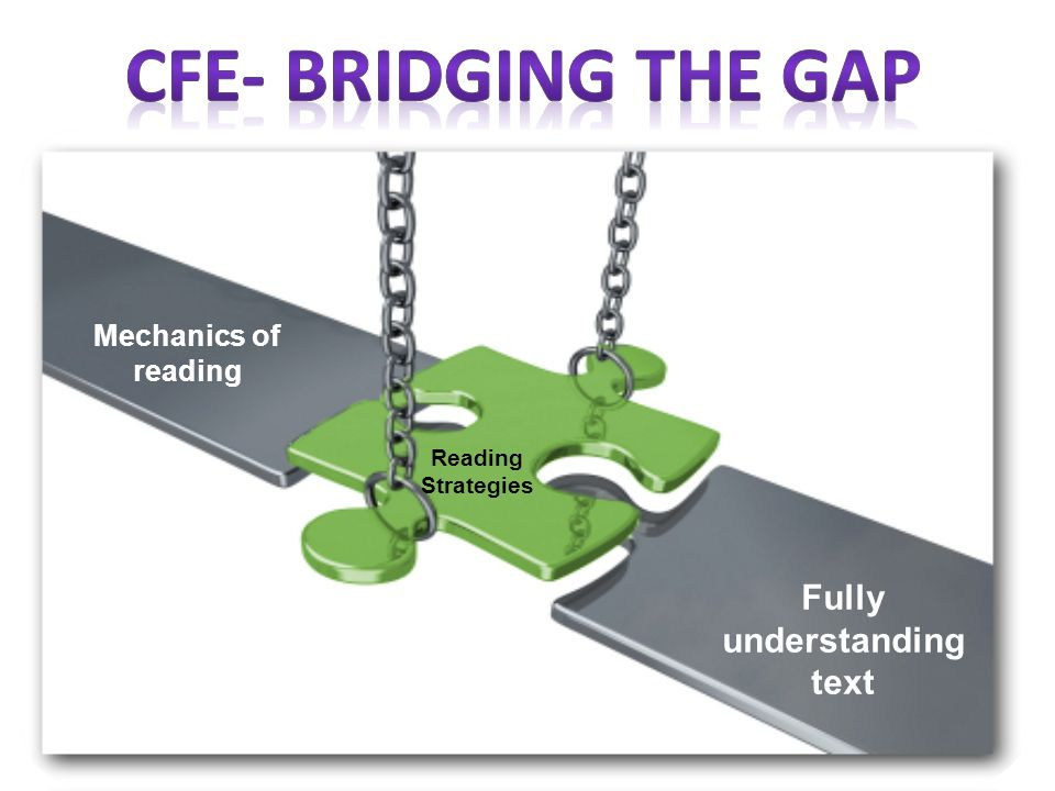 Mechanics of reading Fully understanding text Reading Strategies