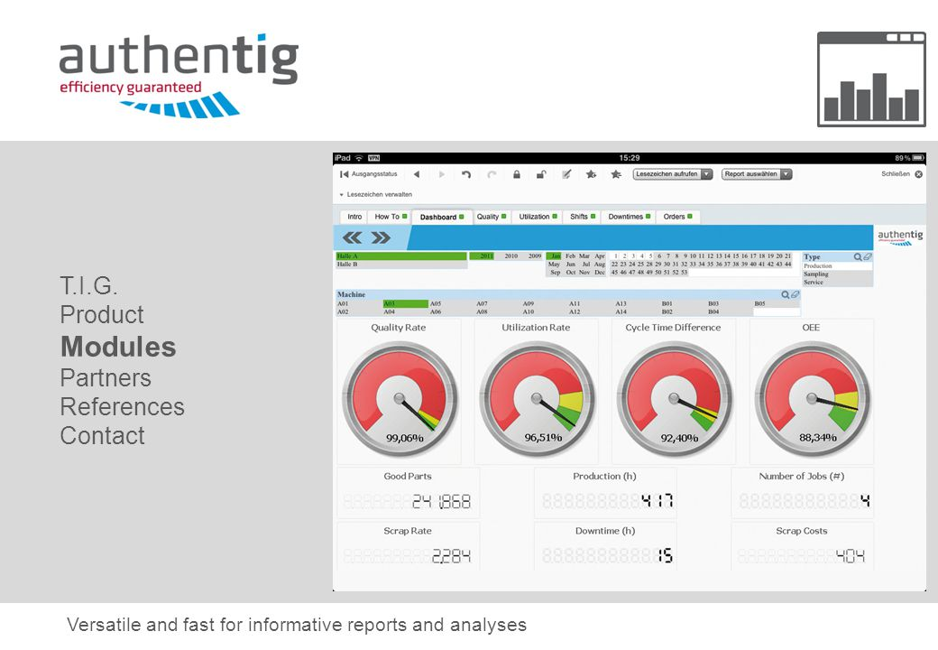 Versatile and fast for informative reports and analyses T.I.G.