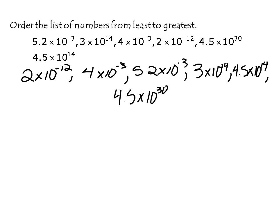 Order the list of numbers from least to greatest.