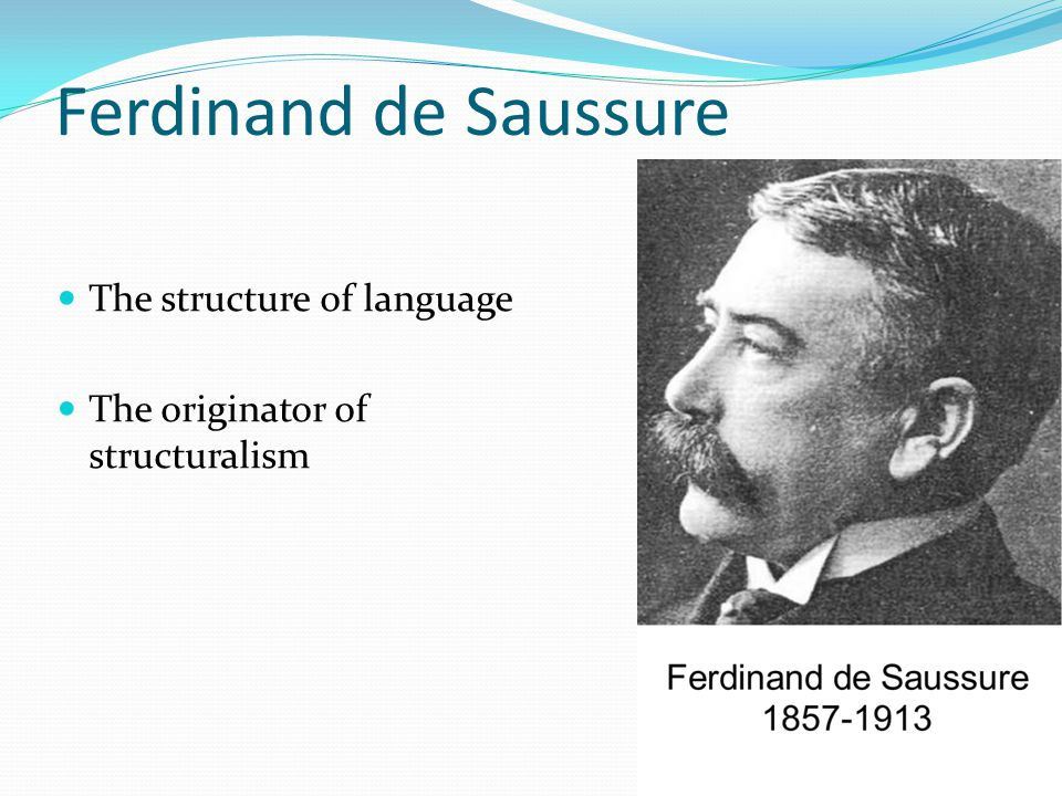 Ferdinand de Saussure The structure of language The originator of structuralism