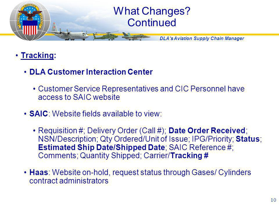 DLA's Aviation Supply Chain Manager 10 Tracking: DLA Customer Interaction Center Customer Service Representatives and CIC Personnel have access to SAI
