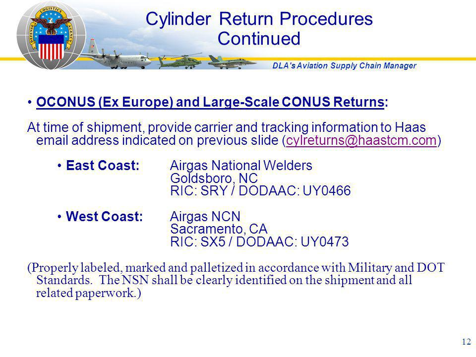 DLA's Aviation Supply Chain Manager 12 Cylinder Return Procedures Continued OCONUS (Ex Europe) and Large-Scale CONUS Returns: At time of shipment, pro