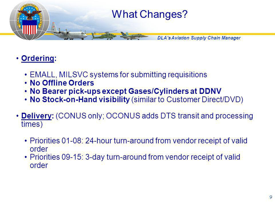 DLA's Aviation Supply Chain Manager 9 What Changes? Ordering: EMALL, MILSVC systems for submitting requisitions No Offline Orders No Bearer pick-ups e