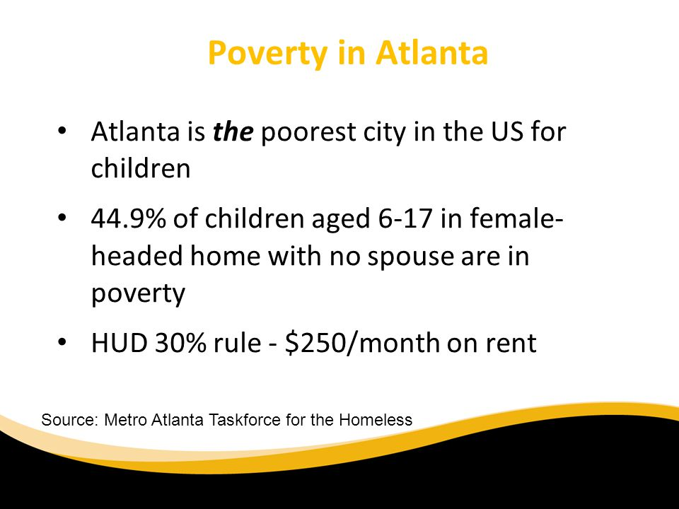 Poverty in Atlanta Atlanta is the poorest city in the US for children 44.9% of children aged 6-17 in female- headed home with no spouse are in poverty HUD 30% rule - $250/month on rent Source: Metro Atlanta Taskforce for the Homeless
