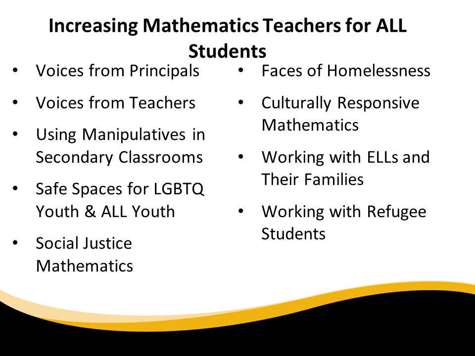 Increasing Mathematics Teachers for ALL Students Voices from Principals Voices from Teachers Using Manipulatives in Secondary Classrooms Safe Spaces f