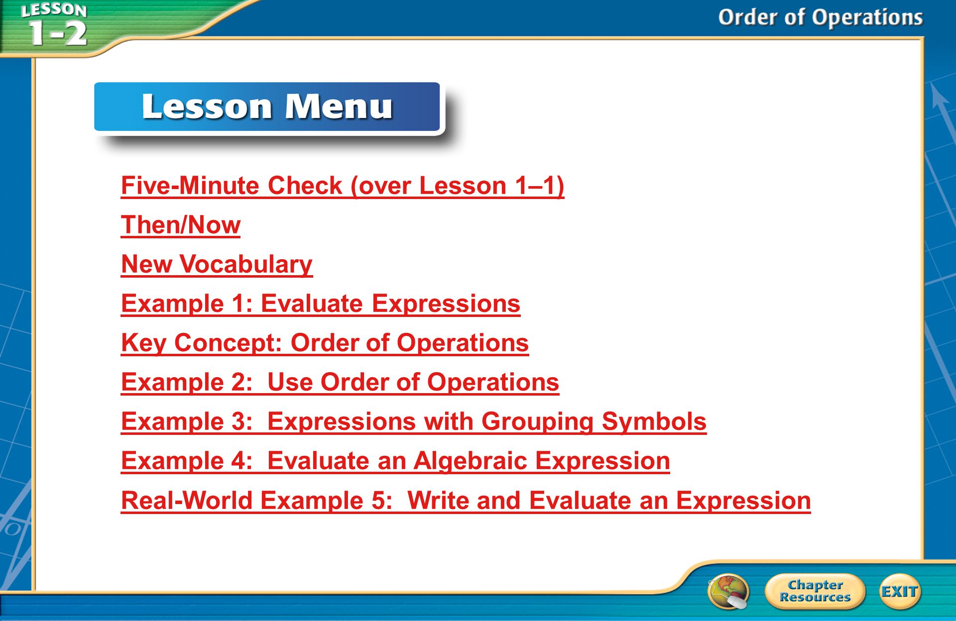 Then/Now You expressed algebraic expressions verbally.