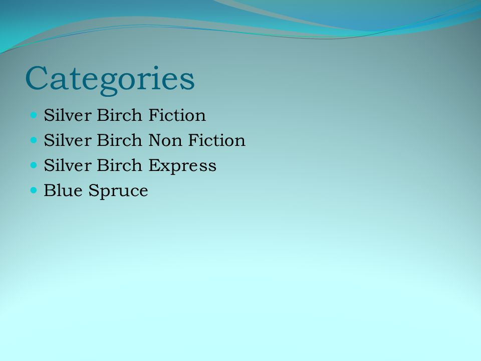 Categories Silver Birch Fiction Silver Birch Non Fiction Silver Birch Express Blue Spruce