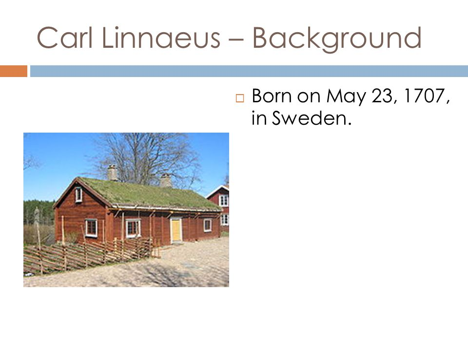 Carl Linnaeus – Background Born on May 23, 1707, in Sweden.