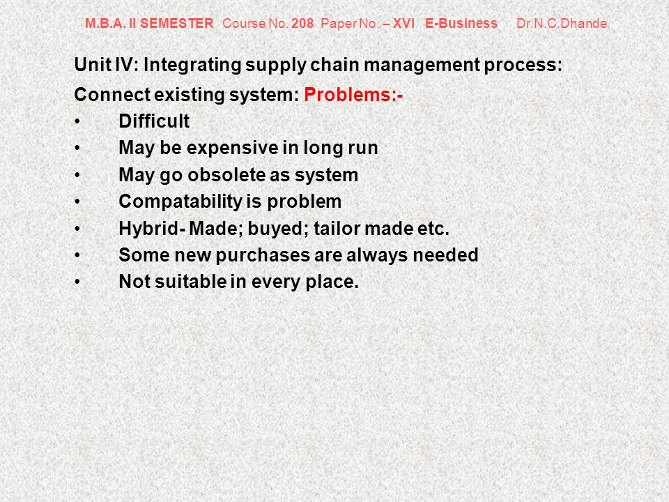 M.B.A. II SEMESTER Course No. 208 Paper No. – XVI E-Business Dr.N.C.Dhande Unit IV: Integrating supply chain management process: Connect existing syst