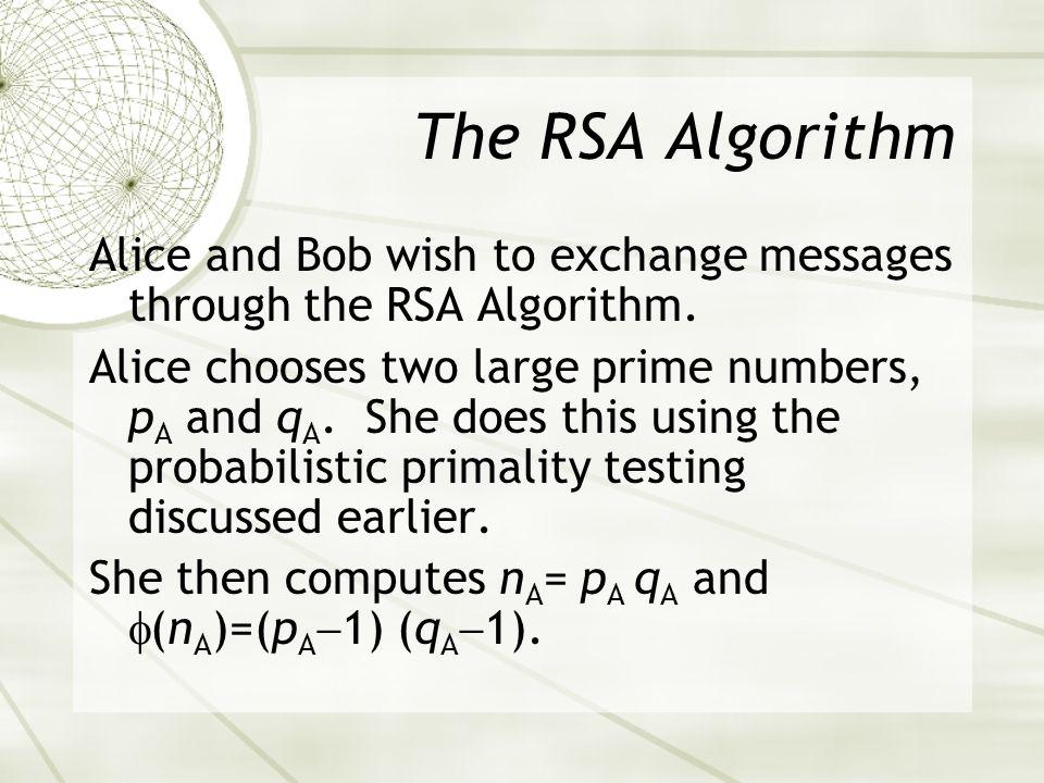 Alice and Bob wish to exchange messages through the RSA Algorithm.