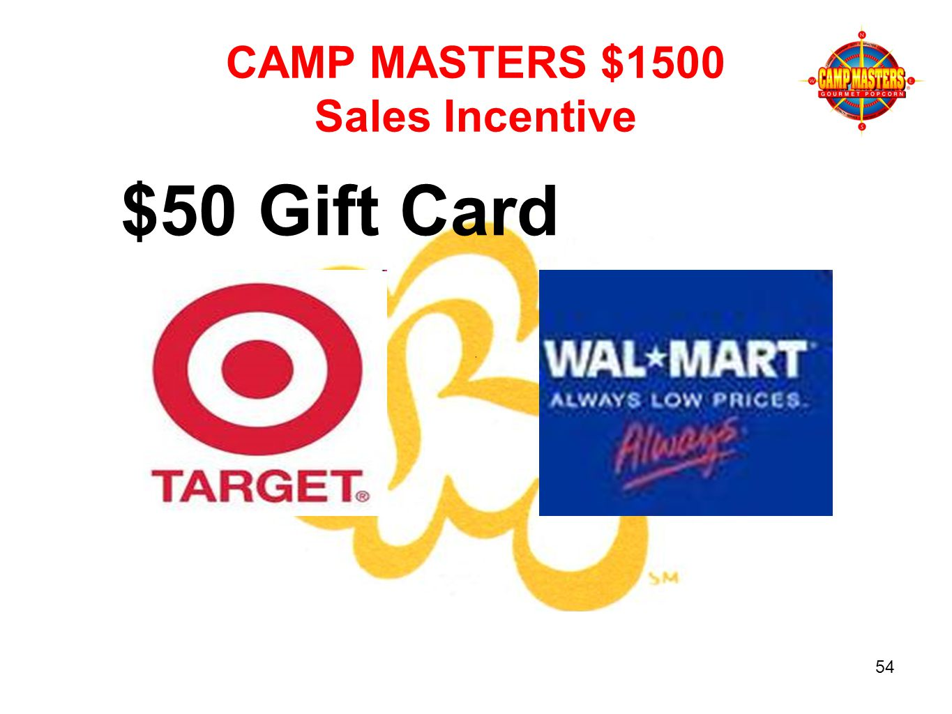 CAMP MASTERS $1500 Sales Incentive $50 Gift Card 54