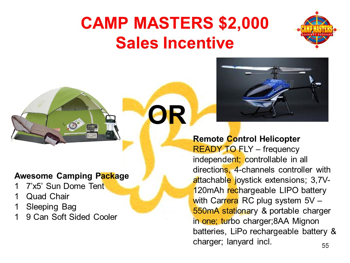 AUGUS Awesome Camping Package 1 7x5 Sun Dome Tent 1 Quad Chair 1 Sleeping Bag 1 9 Can Soft Sided Cooler CAMP MASTERS $2,000 Sales Incentive OR Remote Control Helicopter READY TO FLY – frequency independent; controllable in all directions, 4-channels controller with attachable joystick extensions; 3,7V- 120mAh rechargeable LIPO battery with Carrera RC plug system 5V – 550mA stationary & portable charger in one; turbo charger;8AA Mignon batteries, LiPo rechargeable battery & charger; lanyard incl.
