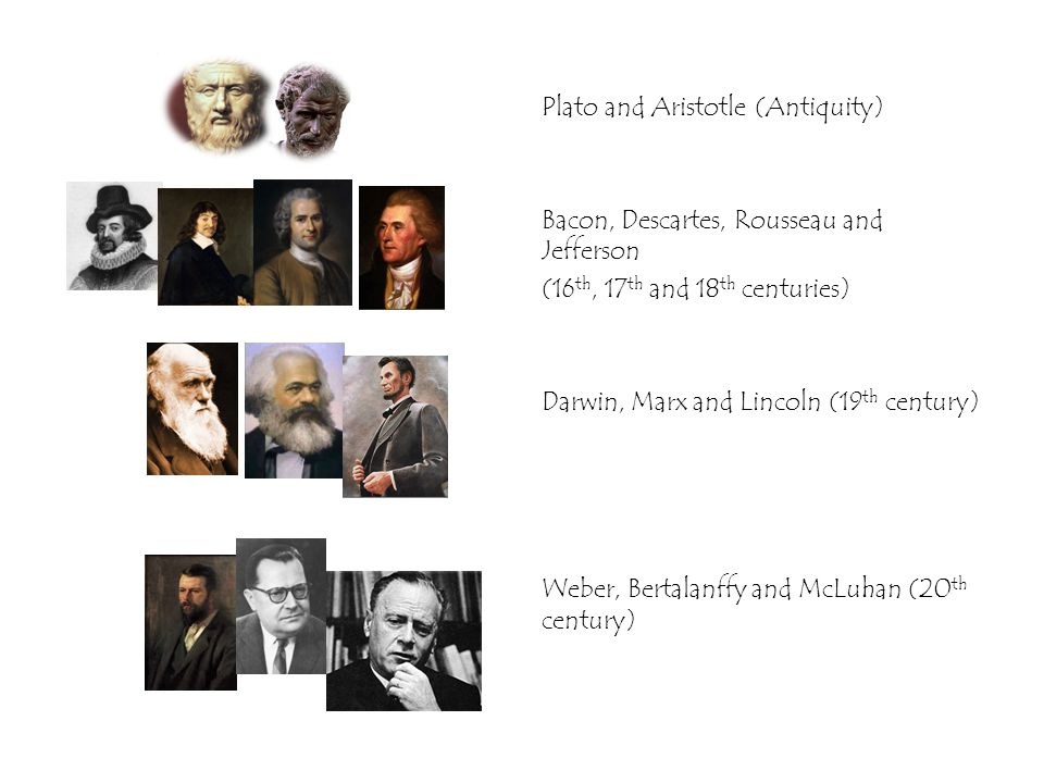Plato and Aristotle (Antiquity) Bacon, Descartes, Rousseau and Jefferson (16 th, 17 th and 18 th centuries) Darwin, Marx and Lincoln (19 th century) Weber, Bertalanffy and McLuhan (20 th century)