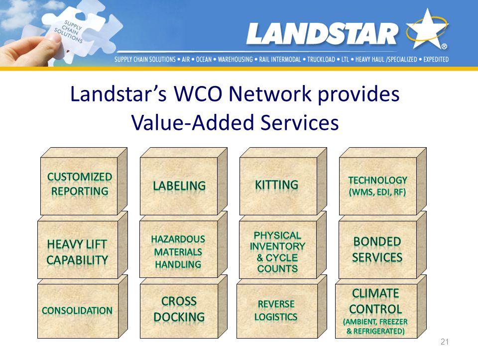 21 Landstars WCO Network provides Value-Added Services