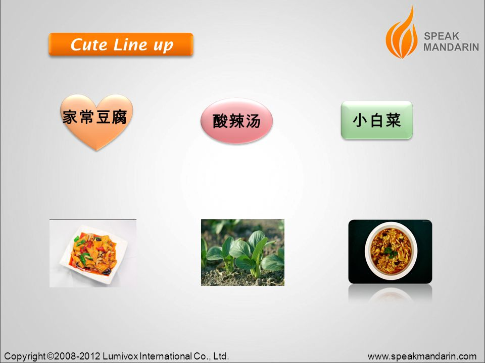Copyright ©2008-2012 Lumivox International Co., Ltd.www.speakmandarin.com Cute Line up