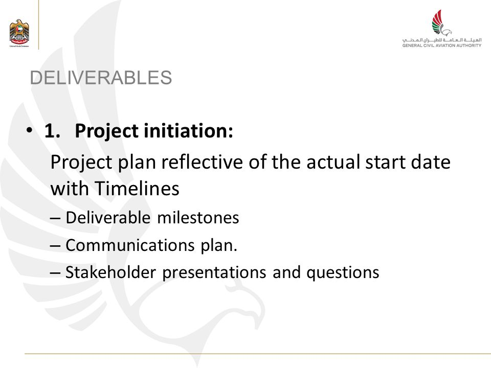 DELIVERABLES 1.Project initiation: Project plan reflective of the actual start date with Timelines – Deliverable milestones – Communications plan. – S
