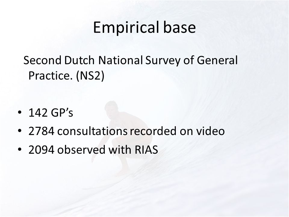 Empirical base SSecond Dutch National Survey of General Practice.