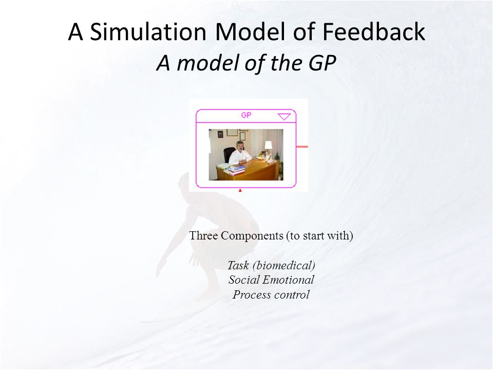 A Simulation Model of Feedback A model of the GP Three Components (to start with) Task (biomedical) Social Emotional Process control