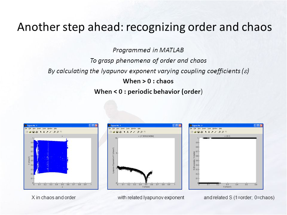 Another step ahead: recognizing order and chaos Programmed in MATLAB To grasp phenomena of order and chaos By calculating the lyapunov exponent varying coupling coefficients ( ) When > 0 : chaos When < 0 : periodic behavior (order) X in chaos and orderwith related lyapunov exponentand related S (1=order; 0=chaos)
