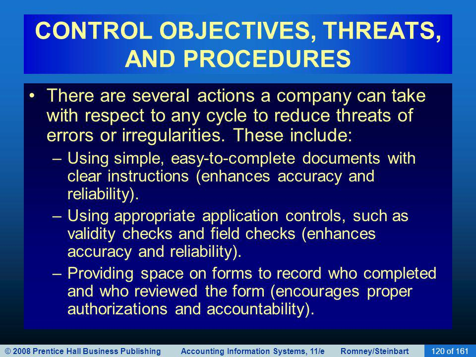 © 2008 Prentice Hall Business Publishing Accounting Information Systems, 11/e Romney/Steinbart120 of 161 CONTROL OBJECTIVES, THREATS, AND PROCEDURES T