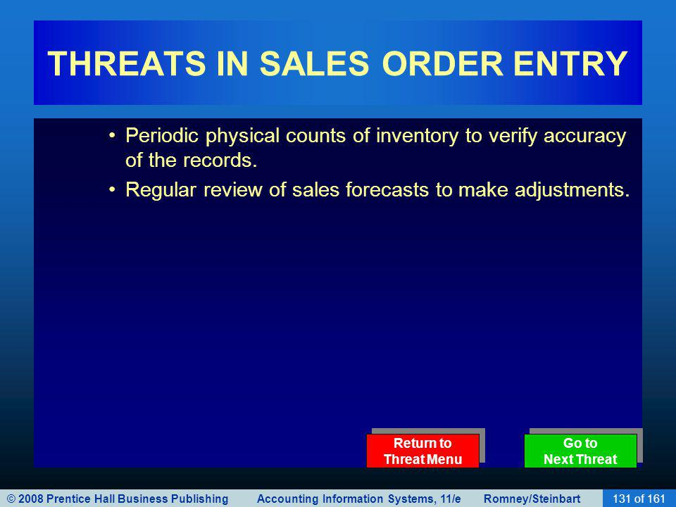 © 2008 Prentice Hall Business Publishing Accounting Information Systems, 11/e Romney/Steinbart131 of 161 THREATS IN SALES ORDER ENTRY Periodic physical counts of inventory to verify accuracy of the records.