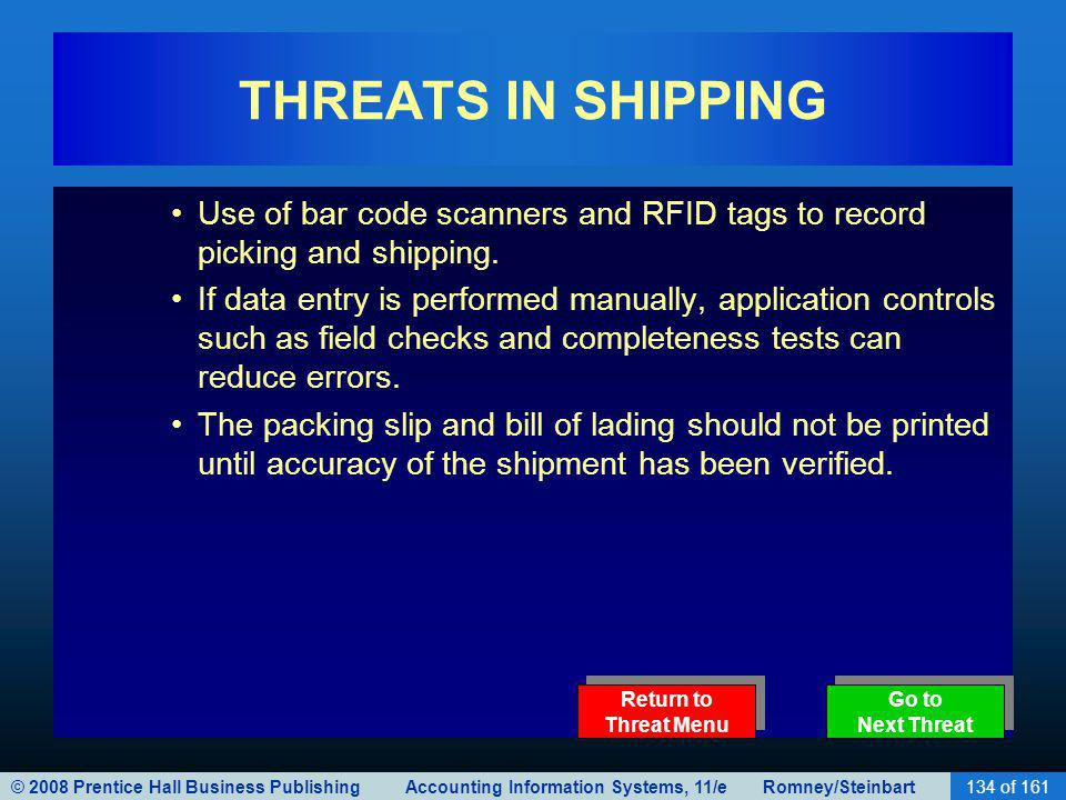 © 2008 Prentice Hall Business Publishing Accounting Information Systems, 11/e Romney/Steinbart134 of 161 THREATS IN SHIPPING Use of bar code scanners and RFID tags to record picking and shipping.