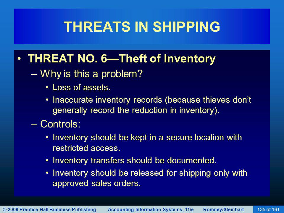 © 2008 Prentice Hall Business Publishing Accounting Information Systems, 11/e Romney/Steinbart135 of 161 THREATS IN SHIPPING THREAT NO. 6Theft of Inve