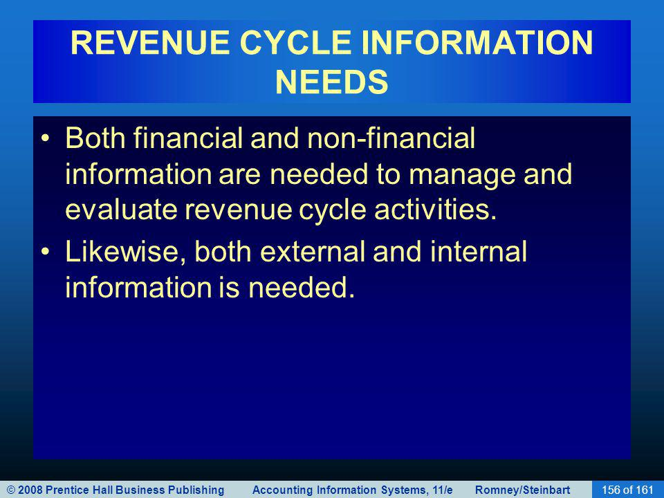 © 2008 Prentice Hall Business Publishing Accounting Information Systems, 11/e Romney/Steinbart156 of 161 REVENUE CYCLE INFORMATION NEEDS Both financia
