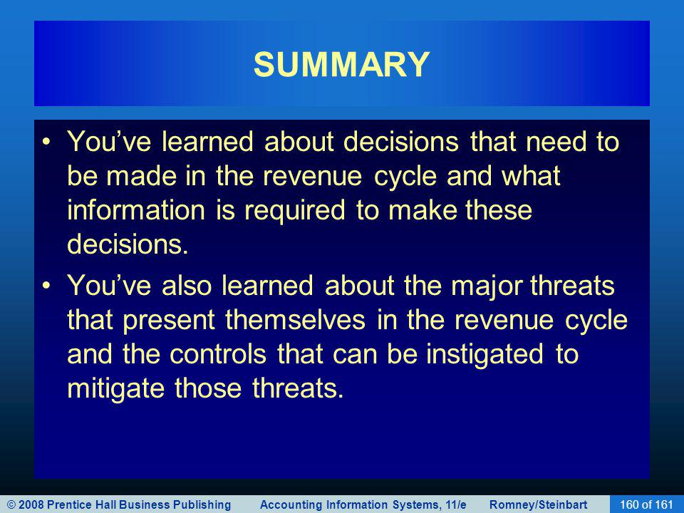 © 2008 Prentice Hall Business Publishing Accounting Information Systems, 11/e Romney/Steinbart160 of 161 SUMMARY Youve learned about decisions that need to be made in the revenue cycle and what information is required to make these decisions.
