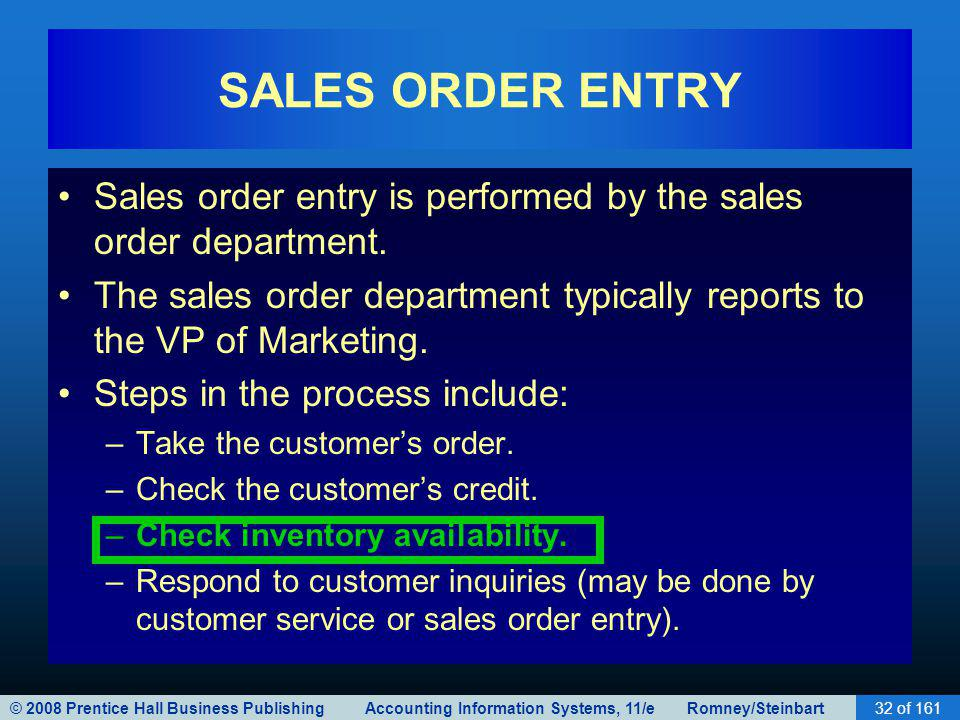 © 2008 Prentice Hall Business Publishing Accounting Information Systems, 11/e Romney/Steinbart32 of 161 SALES ORDER ENTRY Sales order entry is perform