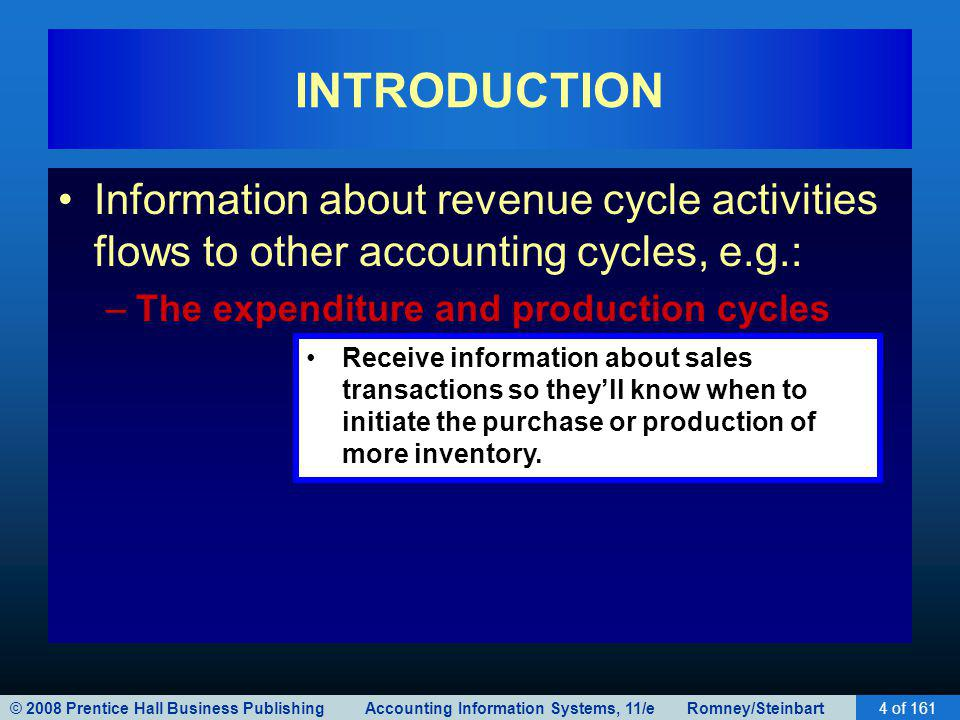 © 2008 Prentice Hall Business Publishing Accounting Information Systems, 11/e Romney/Steinbart4 of 161 INTRODUCTION Information about revenue cycle ac