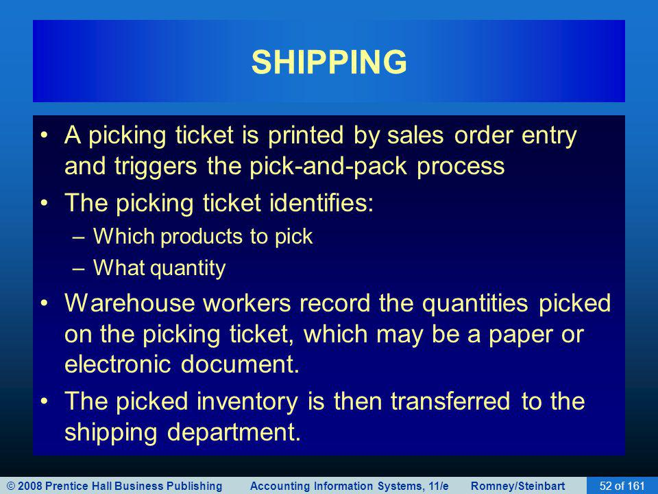 © 2008 Prentice Hall Business Publishing Accounting Information Systems, 11/e Romney/Steinbart52 of 161 SHIPPING A picking ticket is printed by sales