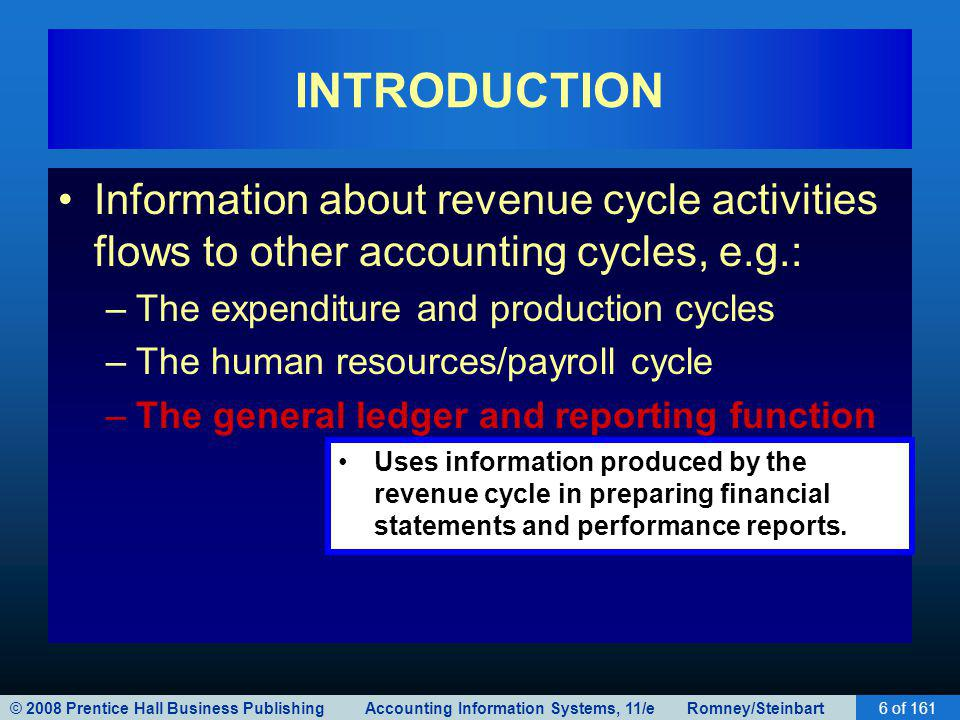 © 2008 Prentice Hall Business Publishing Accounting Information Systems, 11/e Romney/Steinbart6 of 161 INTRODUCTION Information about revenue cycle ac