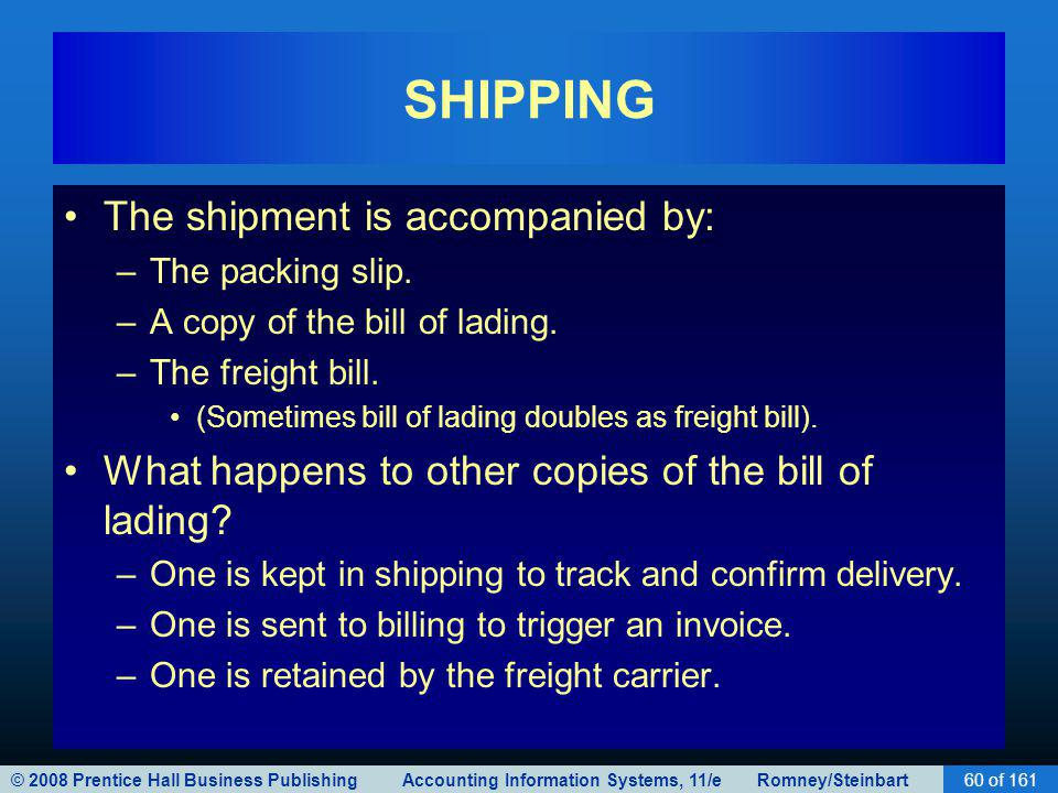 © 2008 Prentice Hall Business Publishing Accounting Information Systems, 11/e Romney/Steinbart60 of 161 SHIPPING The shipment is accompanied by: –The