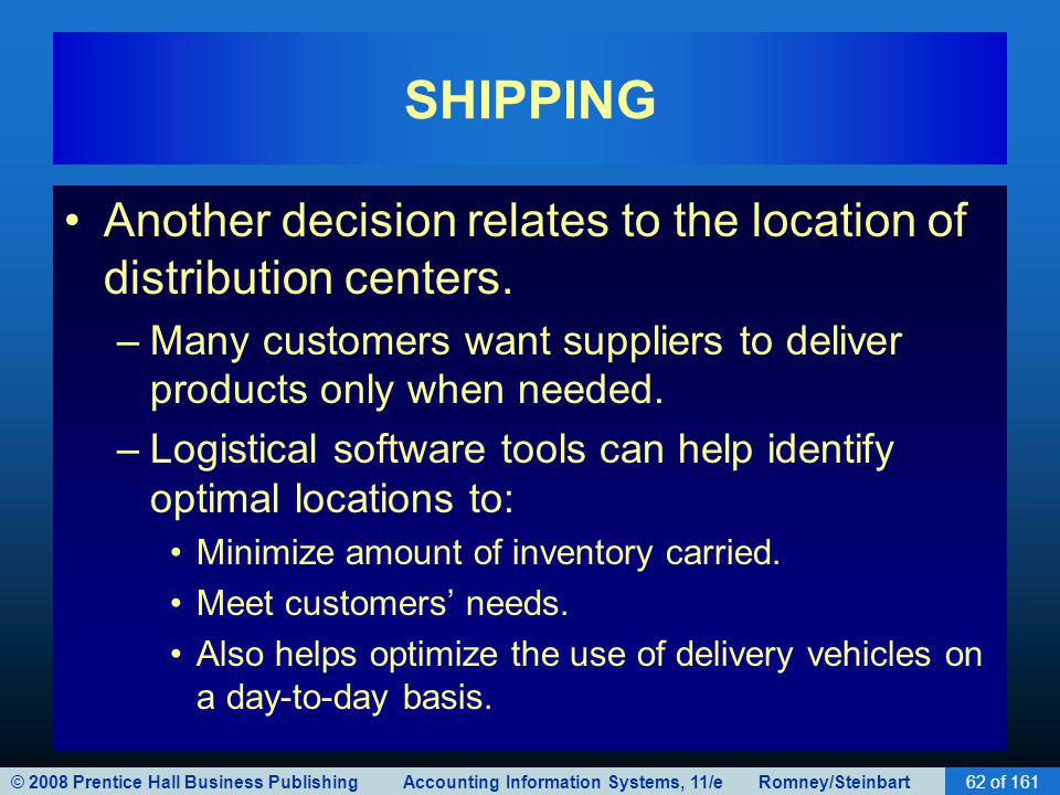 © 2008 Prentice Hall Business Publishing Accounting Information Systems, 11/e Romney/Steinbart62 of 161 SHIPPING Another decision relates to the locat