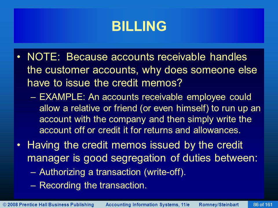 © 2008 Prentice Hall Business Publishing Accounting Information Systems, 11/e Romney/Steinbart86 of 161 BILLING NOTE: Because accounts receivable handles the customer accounts, why does someone else have to issue the credit memos.