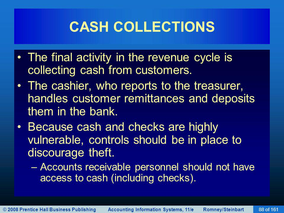 © 2008 Prentice Hall Business Publishing Accounting Information Systems, 11/e Romney/Steinbart88 of 161 CASH COLLECTIONS The final activity in the rev