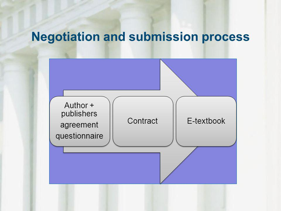 Negotiation and submission process Author + publishers agreement questionnaire ContractE-textbook