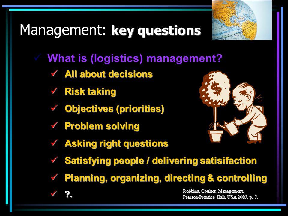 key questions Management: key questions All about decisions All about decisions Risk taking Risk taking Objectives (priorities) Objectives (priorities