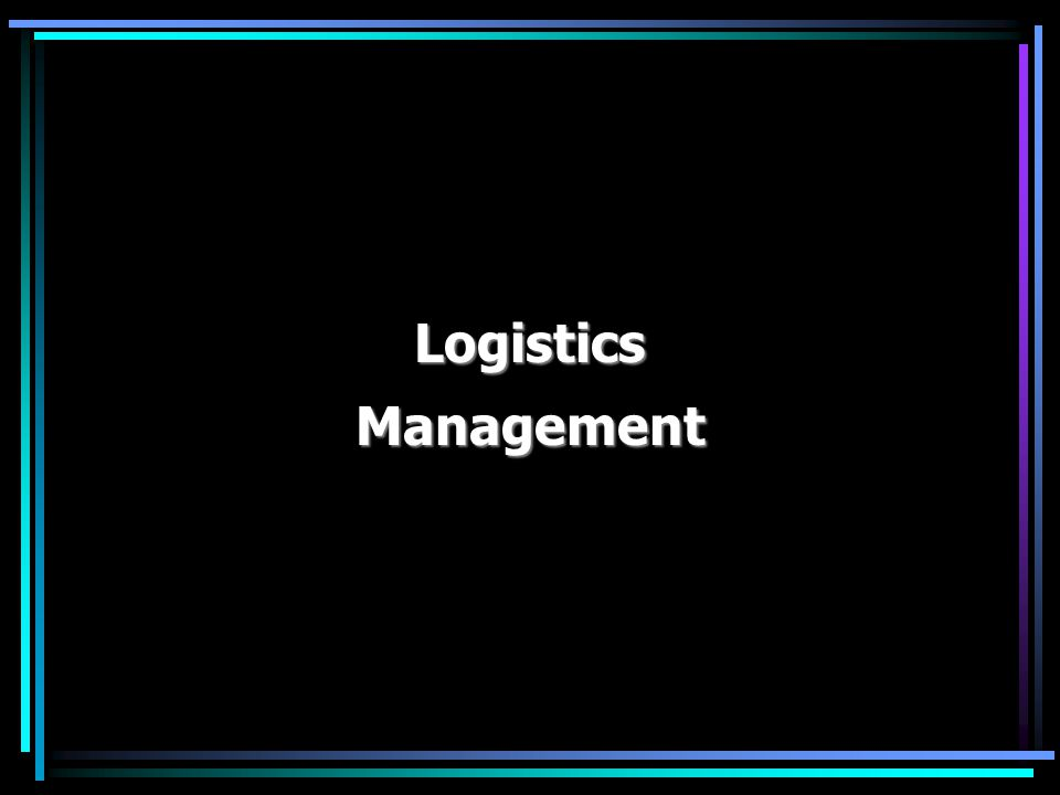 Logistics Management: Logistics management - the governance of supply chain functions.