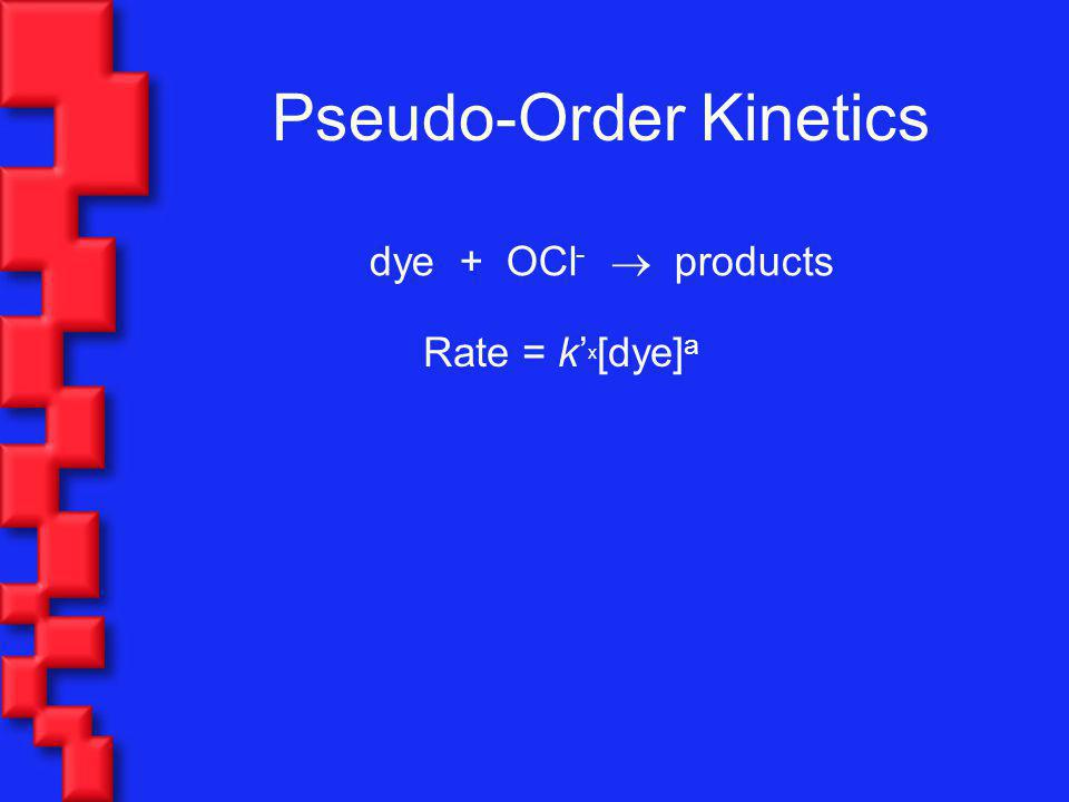 Pseudo-Order Kinetics dye + OCl - products Rate = k x [dye] a Linearize and calculate k