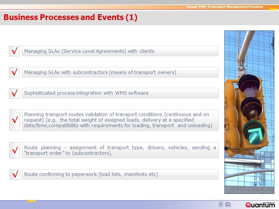 Quaar TMS-Transport Management System IT Enviro nment Server: Windows NT/2000/XP, Solaris, IBM AIX, Linux Work stations : Windows NT/2000/XP Database: ORACLE Citrix / MS Terminal Services 2003